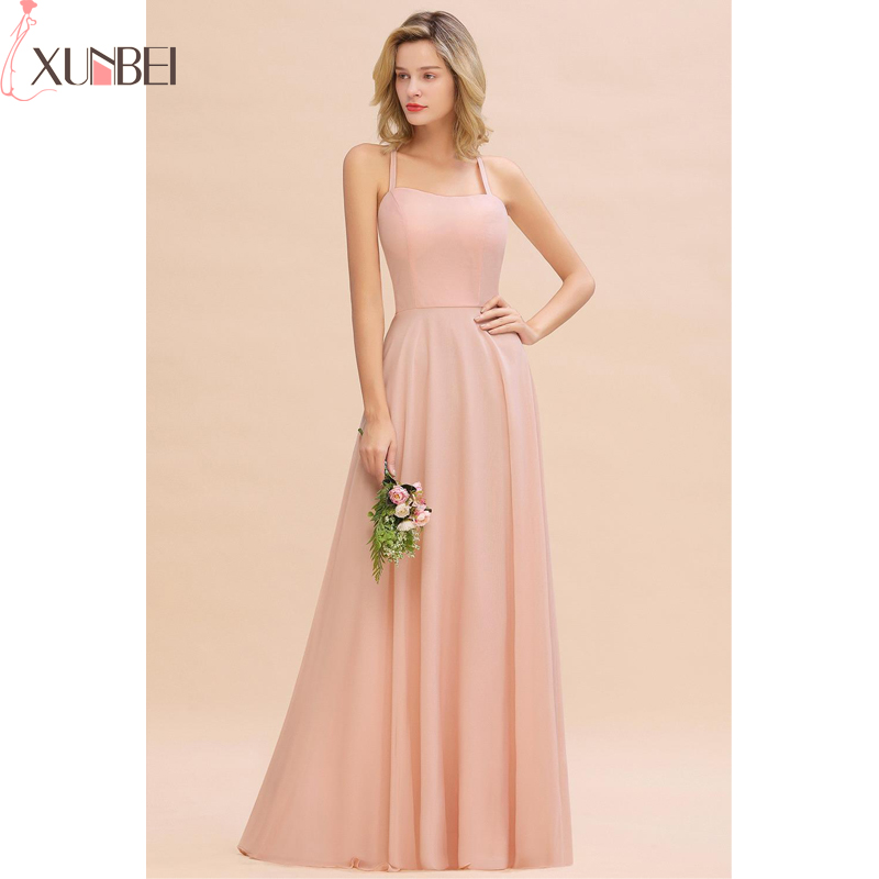 Bridesmaid Dresses Pink A-Line Long Backless Dress Sexy 2019 Spaghetti Straps Dress For Women Wedding Party Vestidos Fiesta Boda