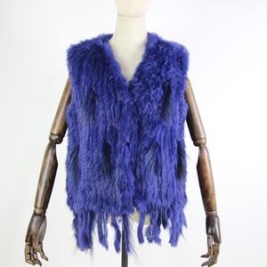 Image 4 - Harppihop*Knit knitted handmade Rabbit fur vest gilet sleeveless garment waistcoat