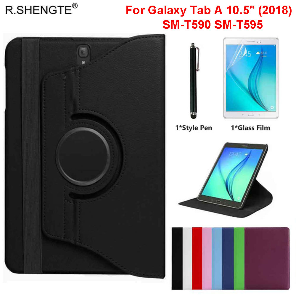 360 Rotating Case For Samsung Galaxy Tab A A2 10.5 Inch 2018 Tablet SM-T590 SM-T595 Case Folio Leather Stand Cover With Pen+Film