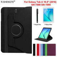 360 Rotating Case For Samsung Galaxy Tab A A2 10.5 inch 2018 Tablet SM T590 SM T595 Case Folio Leather Stand Cover With Pen+Film|Tablets & e-Books Case| |  -
