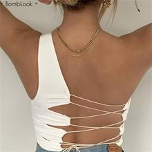 Bomblook Sexy Hollow Backless Lace Up Tank Top Women Summer