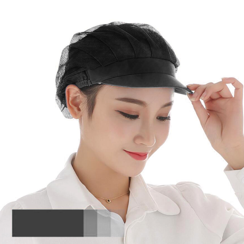 Women Men Chef Mesh Hat With Elastic Band Kitchen Hair Net Catering Cooking Working Breathable Headwear Cap - Black (Pack Of 3)