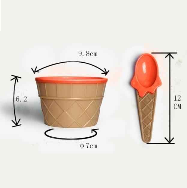 1 pc copo de sorvete com uma colher um lindo conjunto de sorvete sobremesa tigela maravilhoso crianças presente crianças diy ferramentas utensílios de mesa