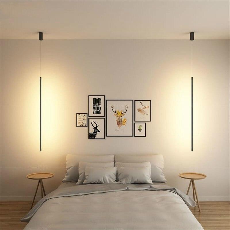 Nordic Strip Pendant Lights Bedroom Bedside Lamp Minimalist Home Decor Pendant Lamp Simple Living Room Hanging Light Fixtures