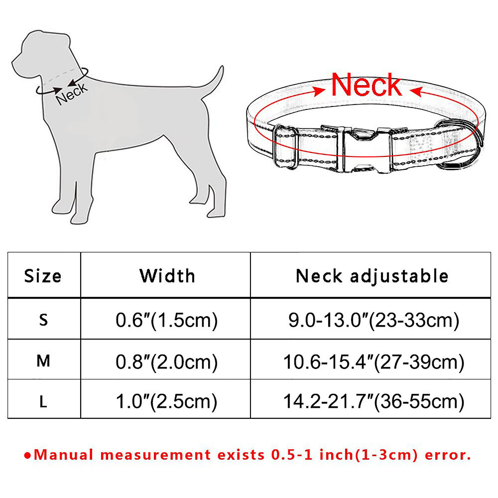 Dog Collar Personalized Free Engraved Boy Girl Dogs Name Adjustable Floral S M L