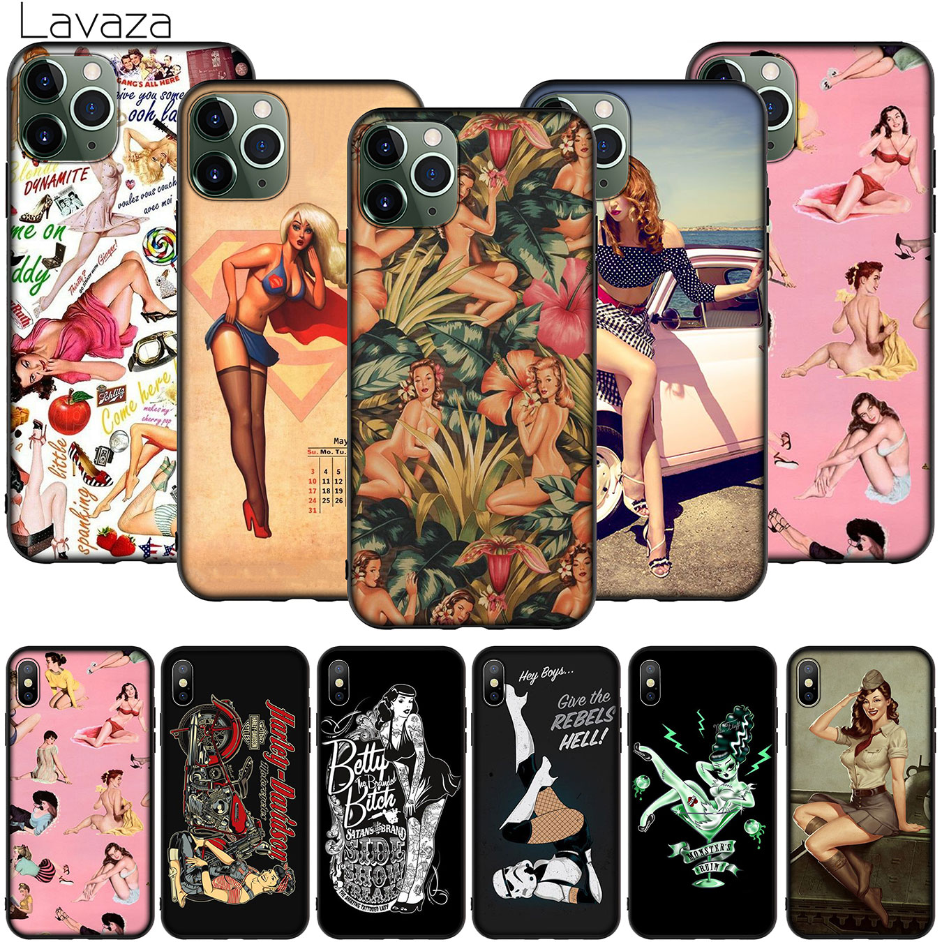 PinUp Girls Pin Up Girl Soft Silicone Cover for iPhone 12 Mini 11 Pro XR X XS Max 7 8 6 6S Plus 5 5S SE 2020 Phone Case