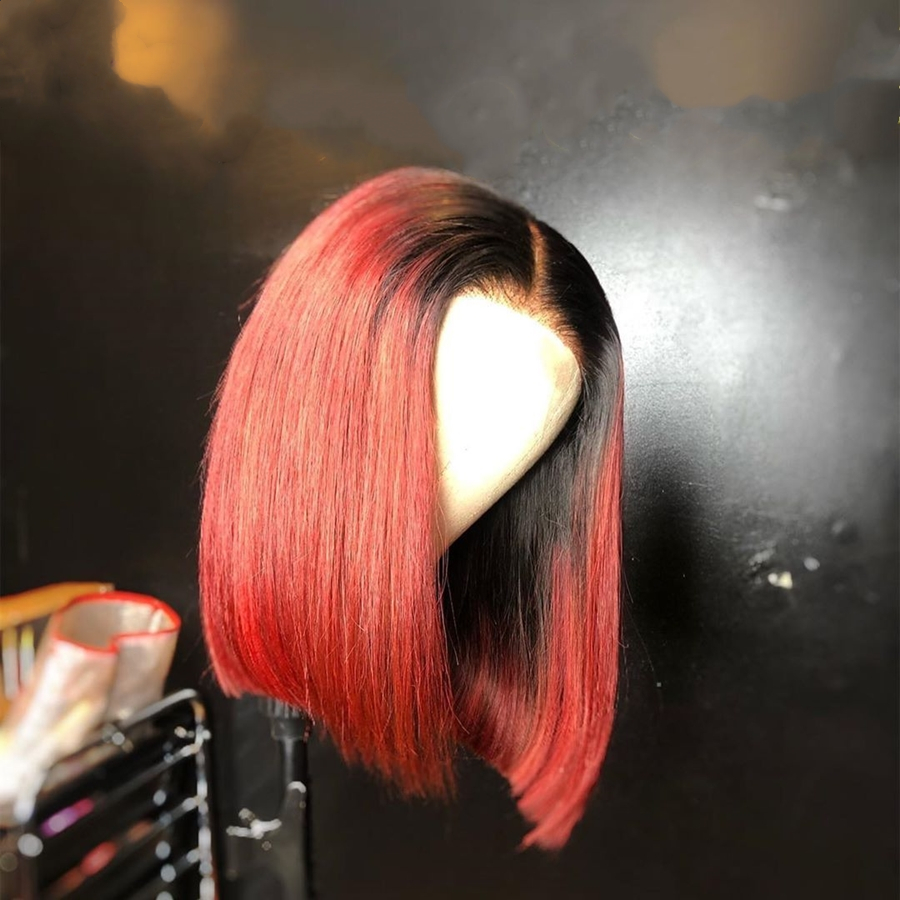 13x4 Ombre Red  Human Hair Lace Front Wigs Silk Straight Short Bob Brazilian Remy Natural Hairline Glueless Wig With Baby Hair