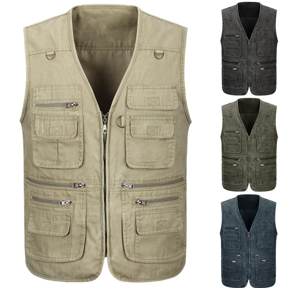 Men Vests Multi Pockets  Thermal Vests Waistcoat Outwear Coats Outdoor Travel Fishing Vests Photography Sleeveless Jacket Vests