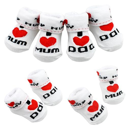 1Pair Newborn Baby Infant Boys Girl Cotton Slip-resistant Floor Socks Love Mom/Dad Pattern Suitable 0~6 Months Toddler