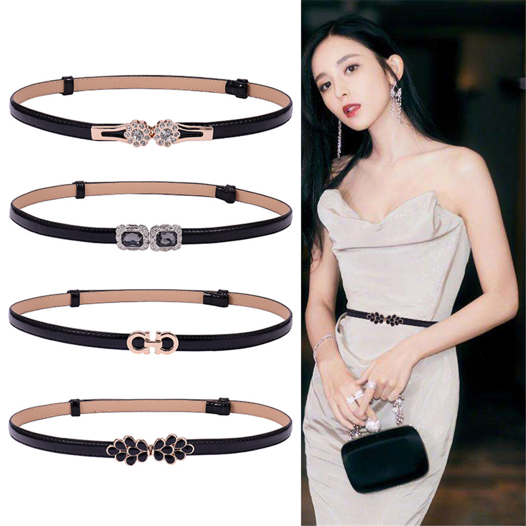 Flower Buckle Candy Color Women Belt Ladies Fashion No Hole Waist Belt Narrow Stretch Dress  Female Belt Oval Leather Waistband