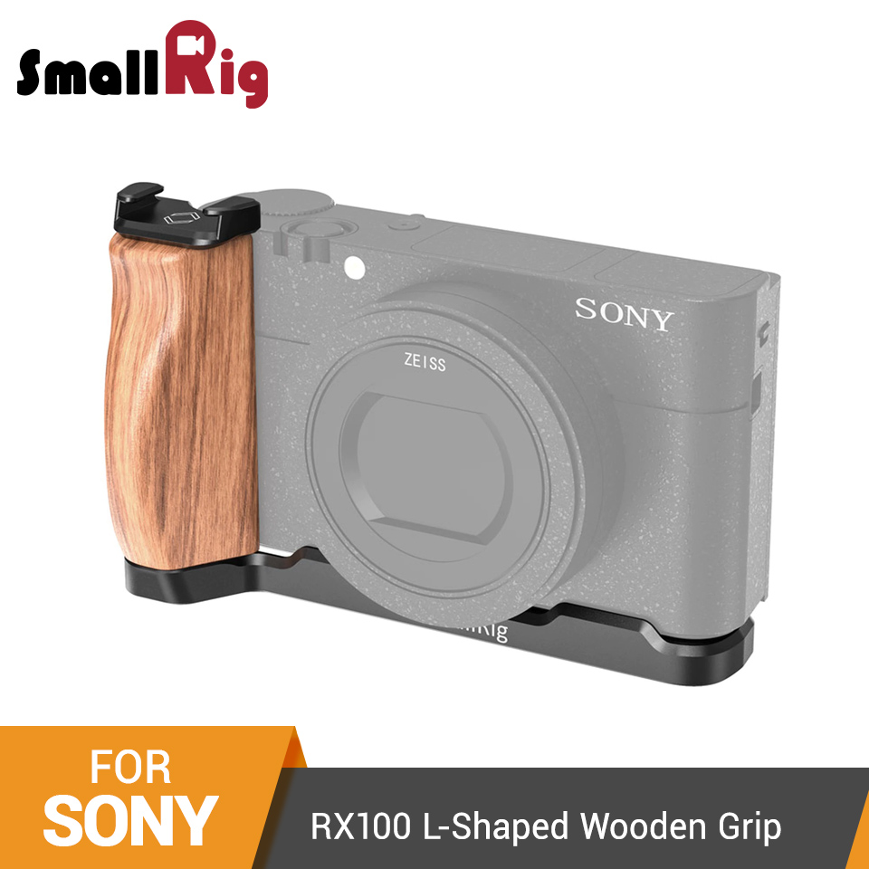 aluminum alloy SmallRig RX100 L Bracket Plate for Sony RX100 III/IV/V(VA)/V Aluminum Alloy Plate With L-Shaped Wooden Grip with Cold Shoe-2438 (1)