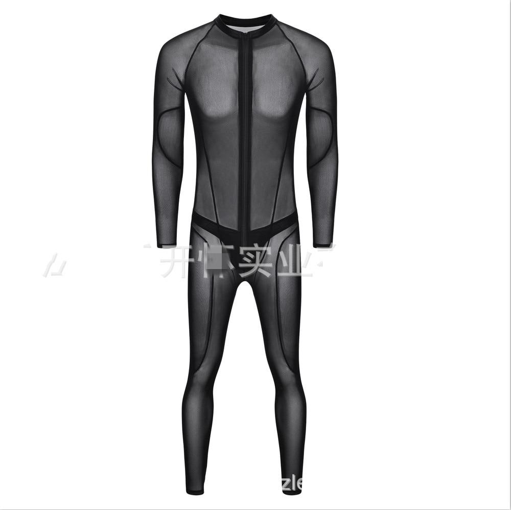 Сексуальный мужской комбинезон из искусственной кожи для мужчин, облегающий боди, комбинезон на молнии спереди с открытой промежностью, латексный костюм зентай, 3XL - Цвет: 981