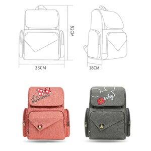 Image 4 - Bolsa de pañales de viaje de Minnie rosa de Disney, Bolsa de maternidad para cochecito, impermeable, USB, para biberón, mochila para mamá