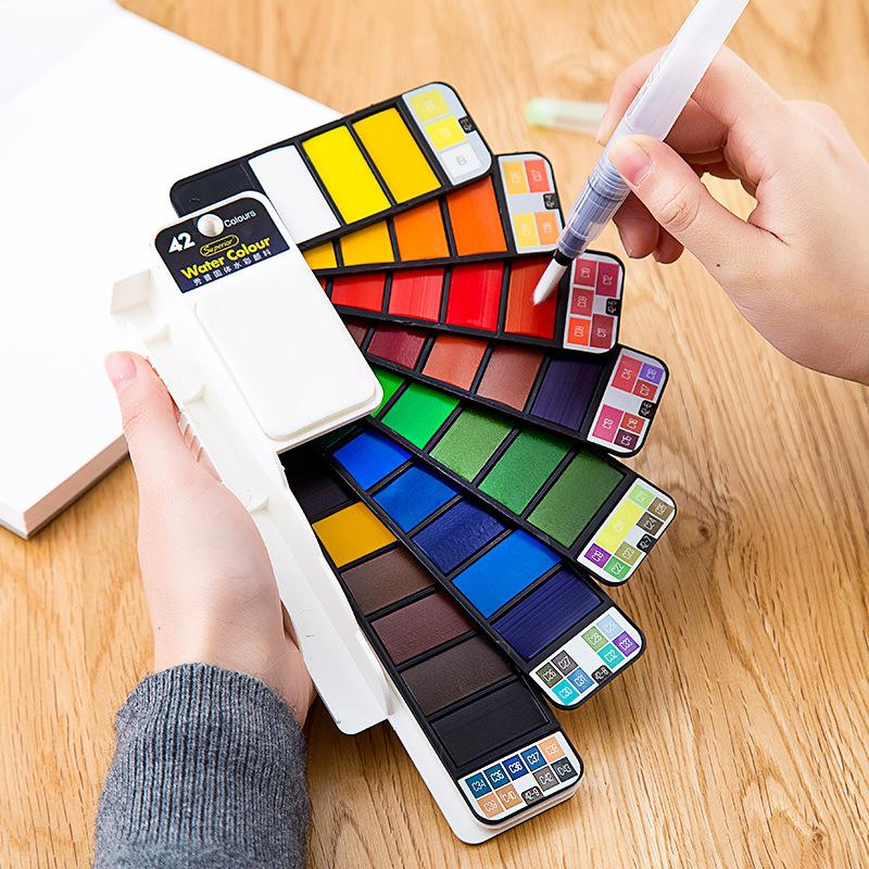 18/25/33/42 Solid Watercolor Paint Set With Water Brush Pen Foldable Travel Water Color Pigment For Draw Dropshipping