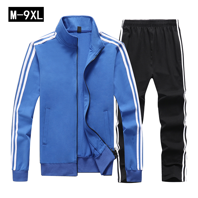 Sport Clothes Men Striped Stand Collar Mens Sweater Suit Solid Underwear Set Large Size 9XL