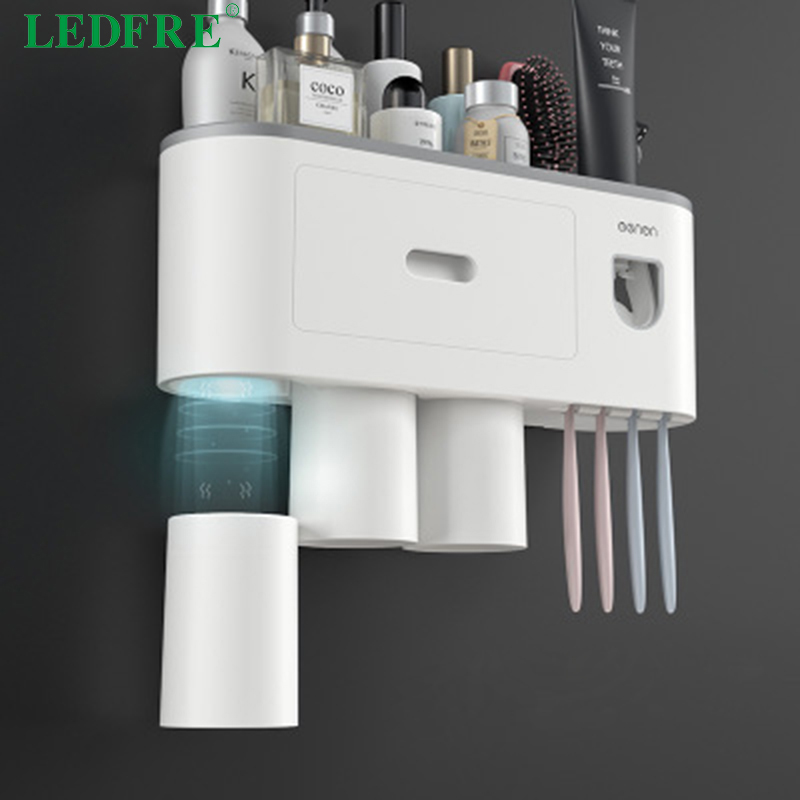LEDFRE Creative large toothbrush rack free punching mouthwash brush cup wall wount bathroom storage automatic squeeze toothpaste image