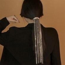 FYUAN Shiny Full Rhinestone Hairpins for Women Long Tassel Crystal Hair Accessories Wedding Bride Jewelry