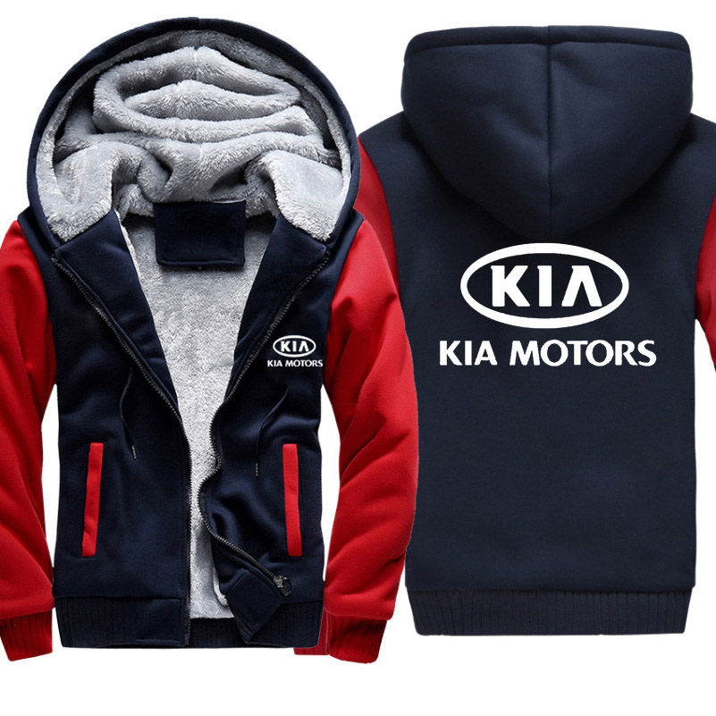 Hoodies Men KIA Car Logo Print Jacket Mens Hoodies Casual Winter Thicken Warm Fleece Cotton Zipper Raglan Coat Male Tracksuits