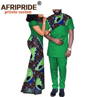 African Couple Clothes Women`s Long Maxi Dress and Men`s Tracksuit Dashiki Outfits Shirts and Pants Set Evening Wedding A20C003