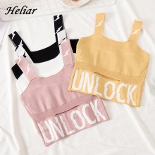 HELIAR Female Camisole Knitting Camis Crop Top Letter UNLOCK Cotton Camisole Femme Camis With Hole Women 2020 Summer Tank Tops