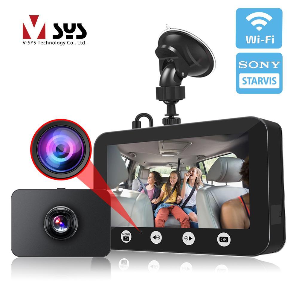 WiFi double objectif DVR écran 4.5 pouces   1080P, SONY IMX307, Vision nocturne intérieure cabine caméra enregistreur vidéo, caméra pour voiture Taxi Uber