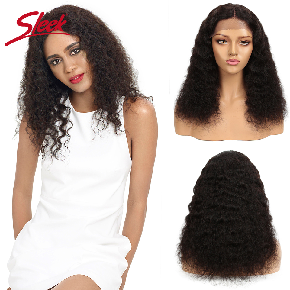 Sleek Curly Human Hair Wig 100% Remy Brazilian Hair Wigs 18 Inch Real Human Hair Lace Wigs U Part Natural Color Curly Wigs