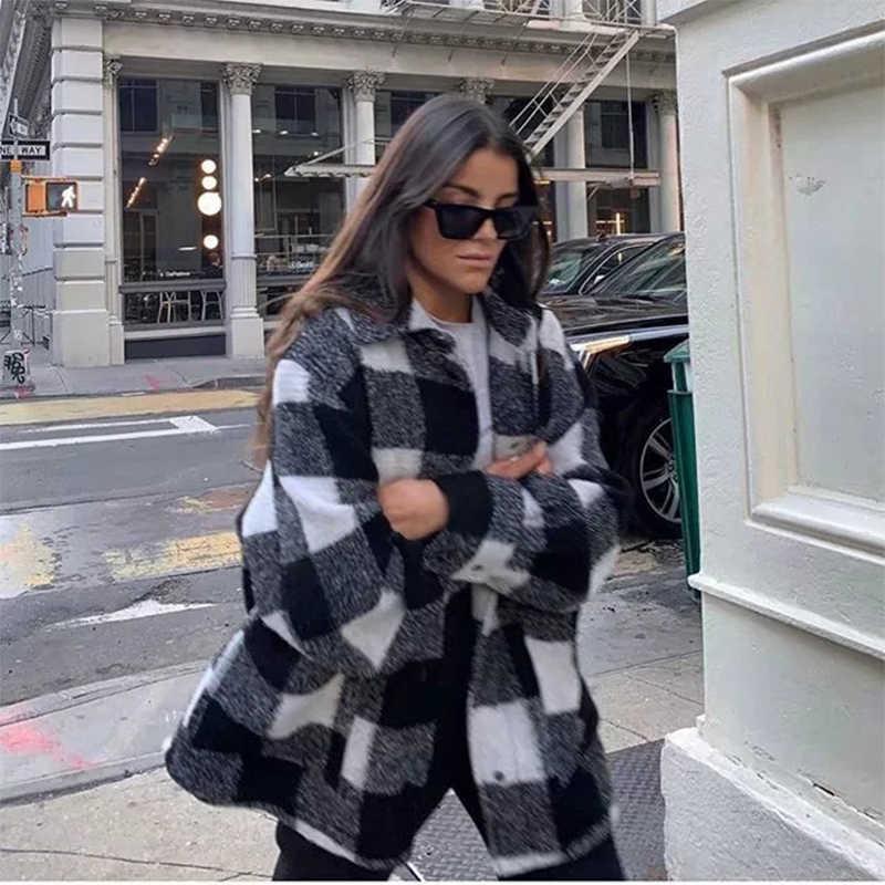 Za style casaco xadrez feminino plus size, jaqueta camisa feminina preto e branco, grosso, para primavera e inverno
