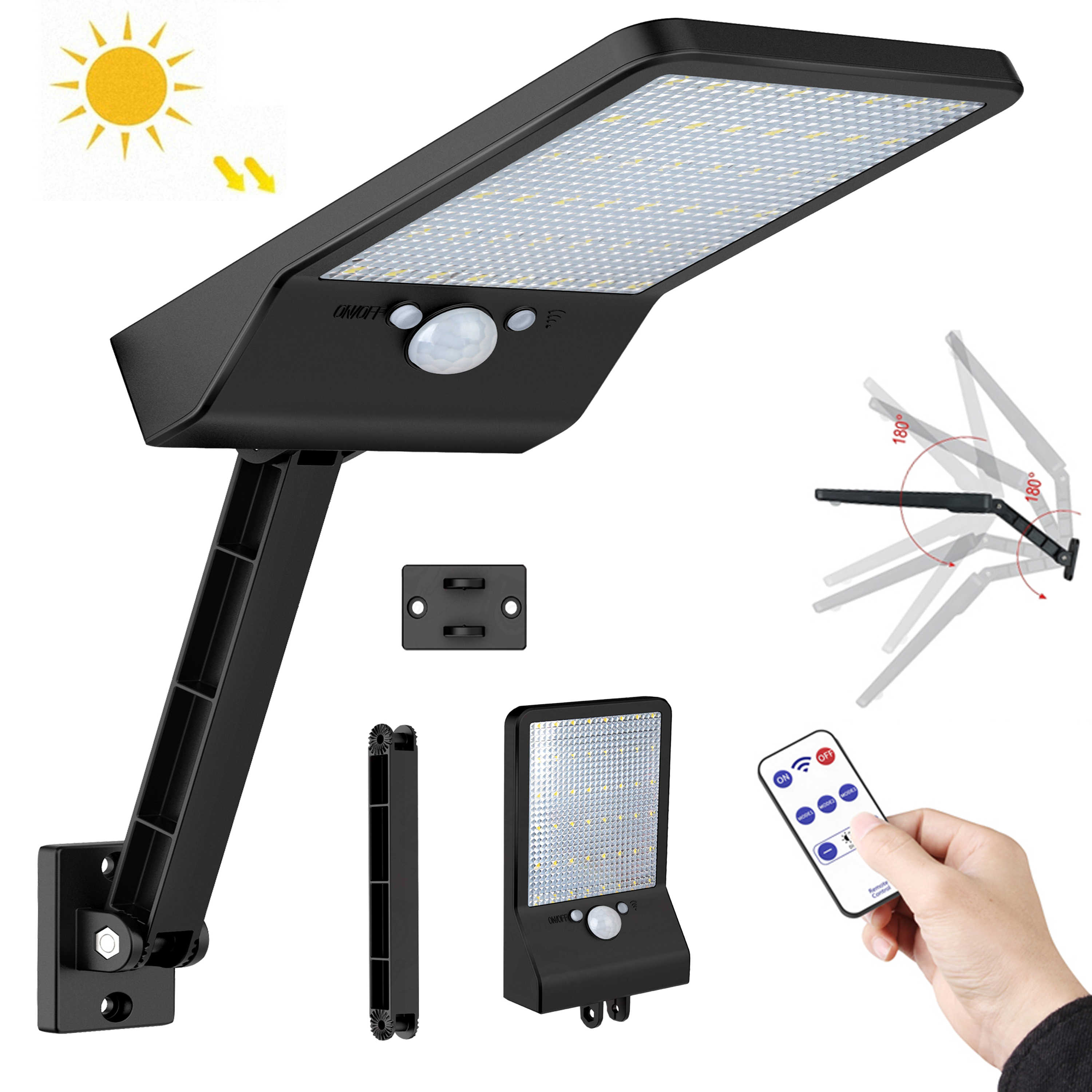 Newest 500 LM 48LED Solar Power Street Light PIR Motion Sensor wall Lamp Outdoo remote control rotate bracket solar street light