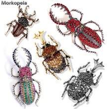 Morkopela beetles esmalte pin strass broche e pinos, bolsa clipe de insetos