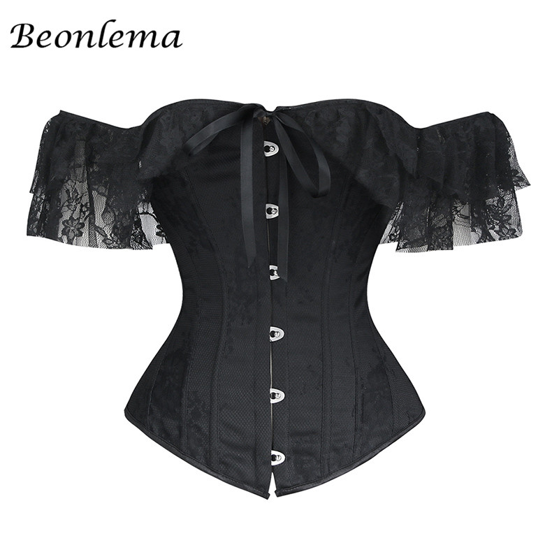 Beonlema Women Sexy Corsets Bustiers Lace Lingerie Lace Up Burlesque Gothic Clothing Corset Overbust Off Shoulder White Bodice