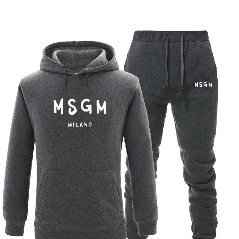 Men Sets Tracksuit Msgm Print Warm Fleece Hoodies Sets Fashion Hooded Sportswear Sweatshirts 2-piece Set Autumn Winter Suit Men