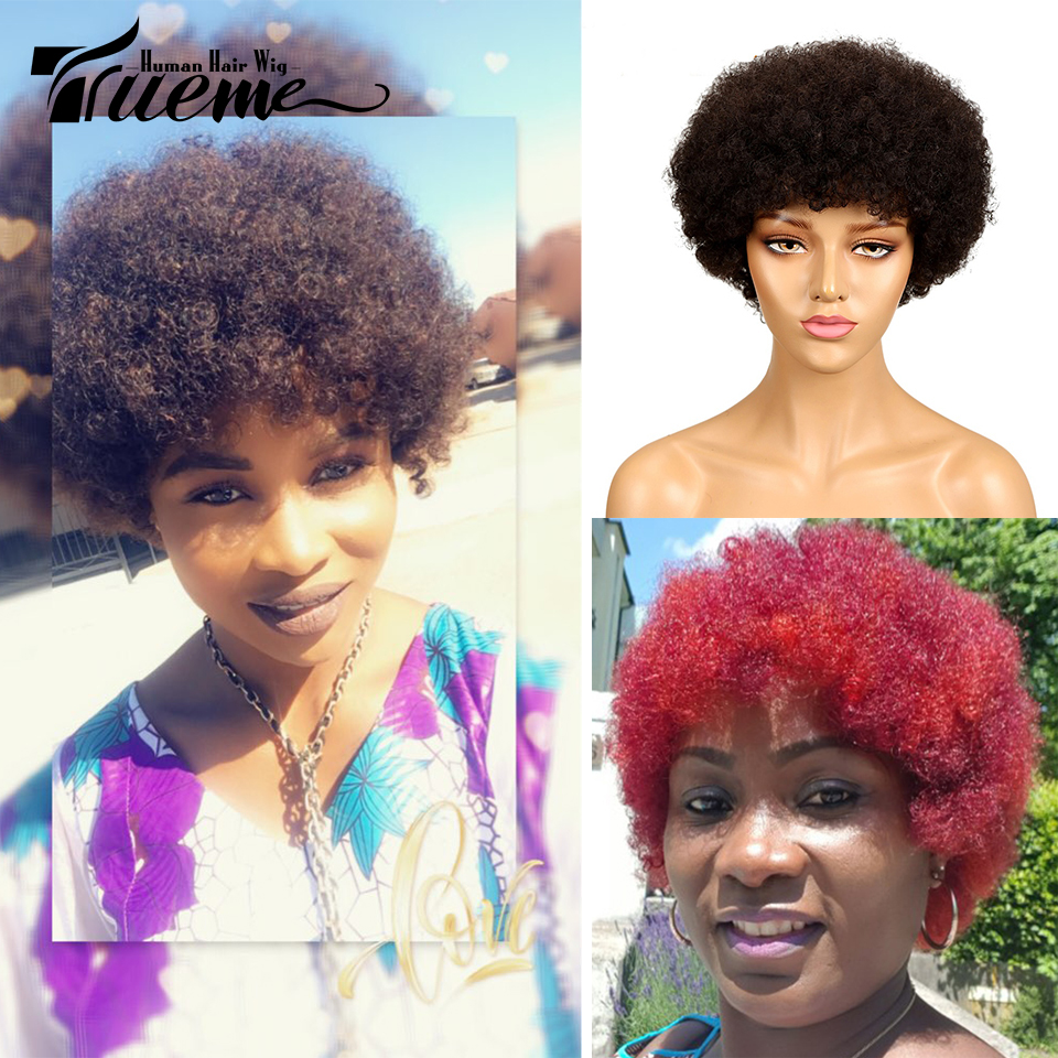 Trueme Short Afro Kinky Curly Wigs For Women Dark Brown Red Wine Color Brazilian Remy Human Hair Fashion Afro Full Wigs