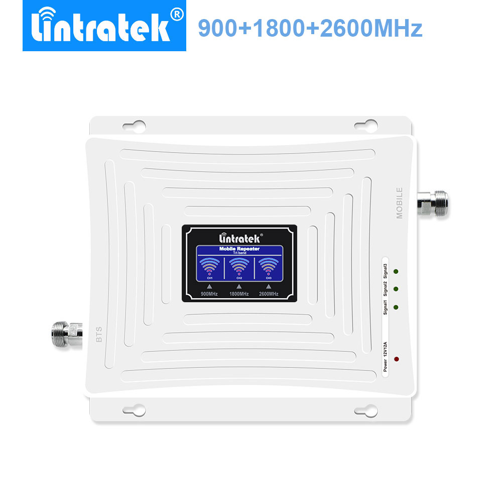 Lintratek Repetidor GSM 900Mhz 4G LTE B3+B7 1800Mhz 2600Mhz Tri Band Cell Phone Signal Booster Amplificador Móvil For Europe-