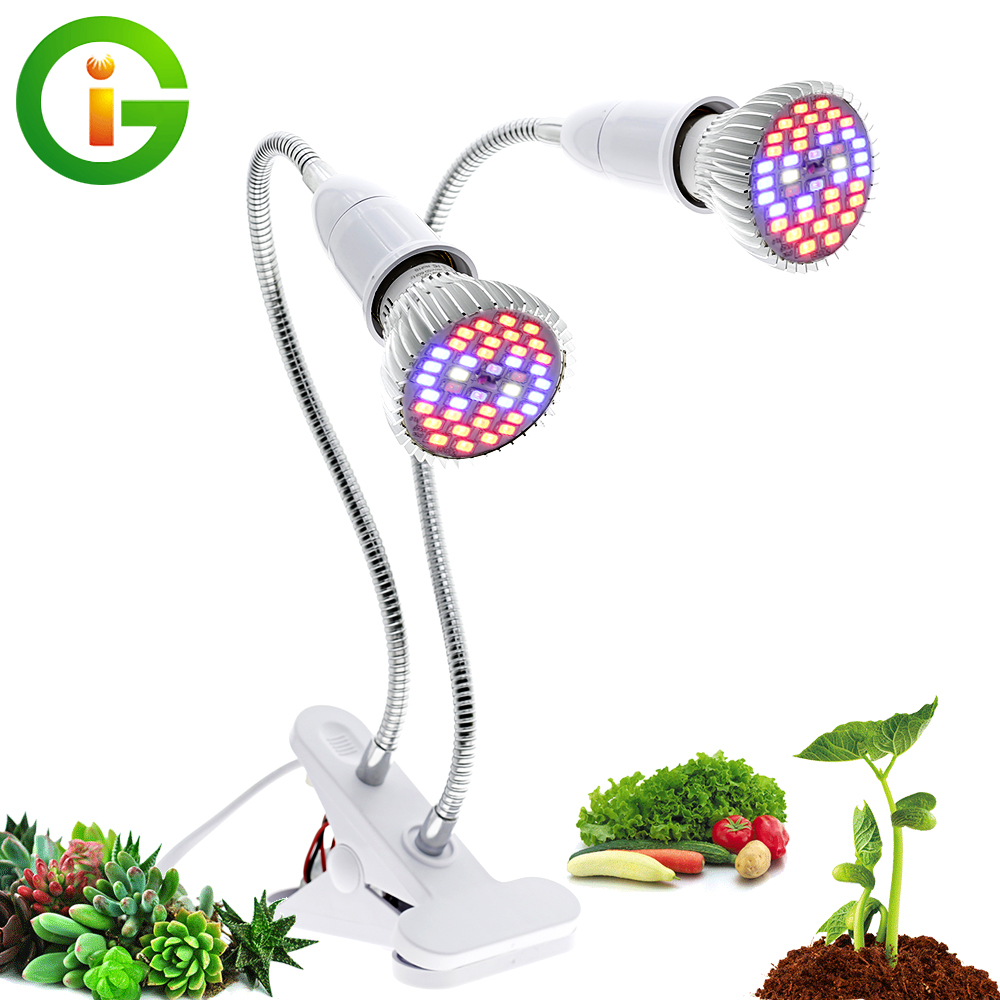 Dual Head E27 Led Grow Light With Flexible Lamp Holder Clip Full Spectrum LED Plant Grow Light Phytolamp For Home Indoor