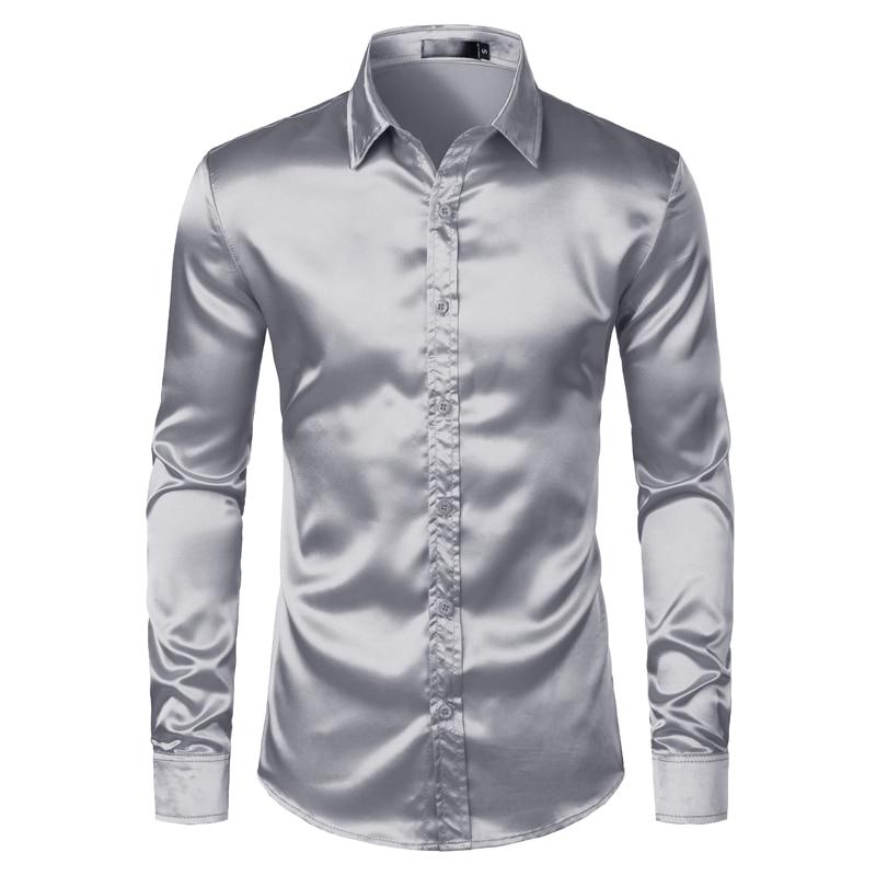 Men's Black Satin Luxury Dress Shirts 2019 Silk Smooth Men Tuxedo Shirt Slim Fit Wedding Party Prom Casual Shirt Chemise Homme 8
