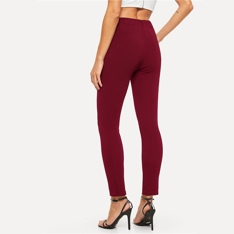 SHEIN Elastic Waist Mid Waist Skinny Trousers Autumn Office Lady Elegant Slim Fit Vertical Women Pencil Pants 13