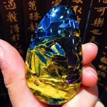 Сертификат натуральный желтый синий пиетерсайт женский кулон 58,6x33,5x7,7 мм капли воды исцеляющий драгоценный камень для женщин и мужчин AAAAA