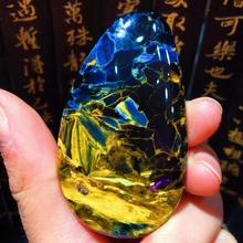 Certificate Natural Yellow Blue Pietersite Women Pendant 58.6x33.5x7.7mm Water Drop Healing Gemstone Women Men AAAAA