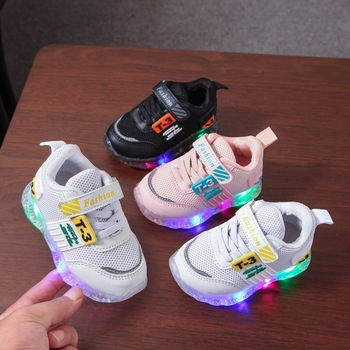 High quality mesh new children shoes hook*Loop noble kids sneakers baby shoes led lighted girls boys shoes infant tennis 2020 hot sales fashion baby casual shoes led lighted sneakers baby classic soft high quality baby girls boys infant tennis