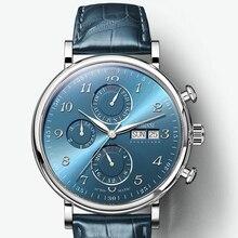 Роскошные брендовые швейцарские мужские часы LOBINNI, автоматические механические мужские часы с вечным календарем, мужские часы с сапфировым кожаным ремешком