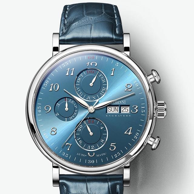 Marque de luxe suisse LOBINNI hommes montres calendrier perpétuel Auto mécanique hommes horloge saphir cuir relogio L13019 9