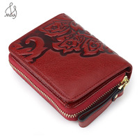 Embossing Flower Women Genuine Leather Wallet Clutch Card Holder Coin Purse Bags Short Wallet Pattern Buckle Wallet High Quality