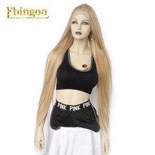 Ebingoo 613 Gemengde Blonde Synthetische Lace Front Pruik Met Baby Haar Lange Rechte Bourgondië Pruik Gratis Deel Stijlvolle Futura Pruik