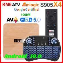 Mecool km6 amlogic s905x4 caixa de tv inteligente android 10.0 atv 4gb ram 64gb rom deluxe 2.4/5g wifi bt definir caixa superior 4k android 10 2g16g