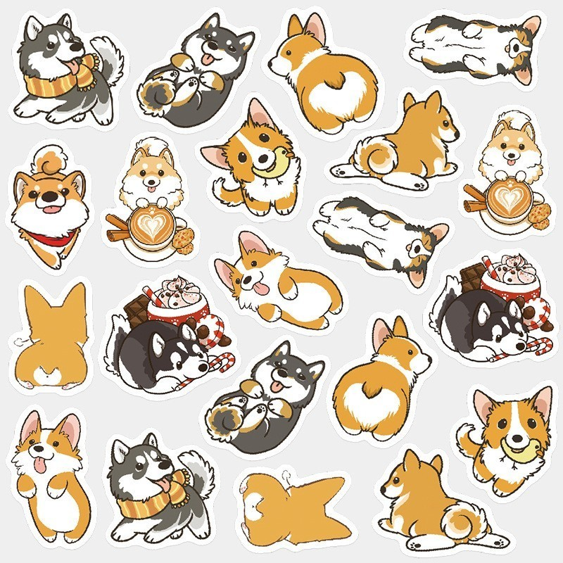 Cute Husky Corgi Pet Dog Bullet Journal Decorative Washi Stickers Scrapbooking Stick Label Diary Album Toy Stickers