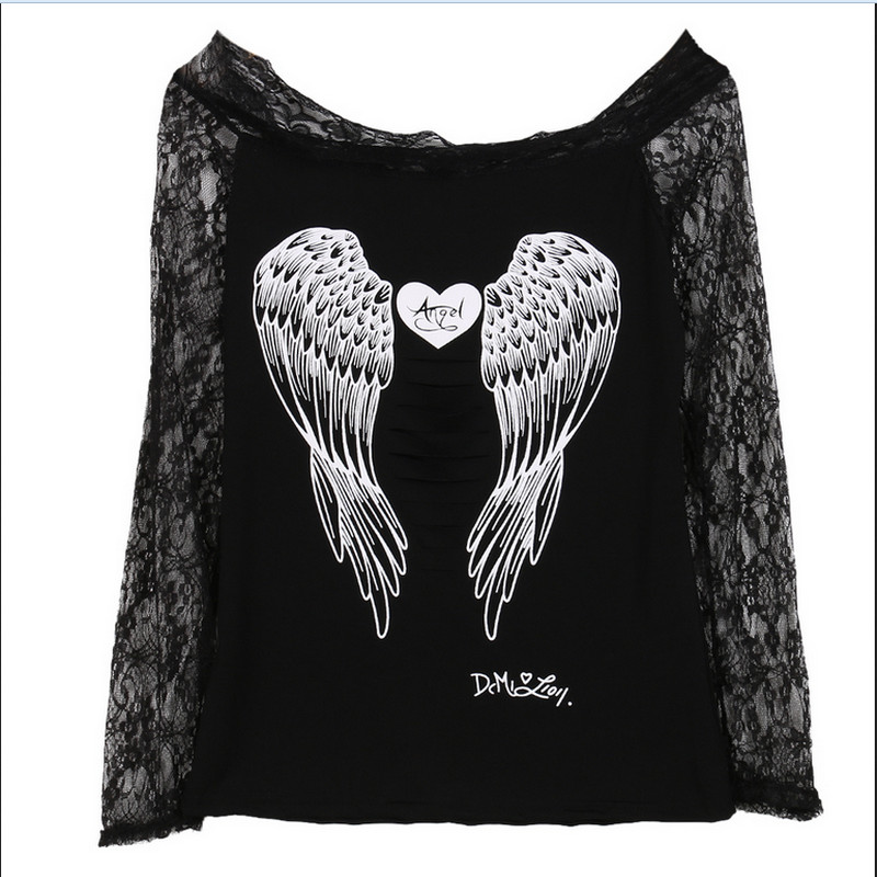 2019 Hot Blouses Women Angel Wings Back Printing Long Sleeve Loose Prints Shirt Casual Lace Off Shoulder Top Blouse Cotton Shein