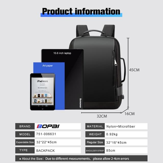 BOPAI Brand Enlarge Backpack USB External Charge 15.6 Inch Laptop Backpack Shoulders Men Anti-Theft Waterproof Travel Backpack 5