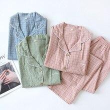 新水洗浄綿の長袖パンツパジャマ女性のための部屋着チェック柄パジャマ秋ラペル純粋な綿のホーム服