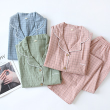 New Water washing Cotton Long sleeved Pants Pajamas for Women Loungewear Plaid Sleepwear Autumn Lapel Pure Cotton Home Clothes