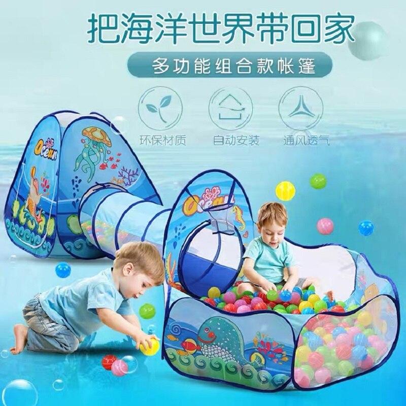 Игровая палатка 3 в 1, детская игровая площадка, манеж для детей, Океанский бассейн с шариками, детский игровой домик, портативный сухой бассе...